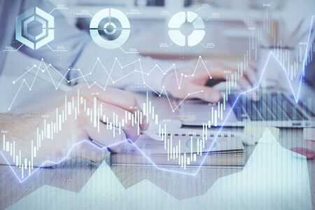 Multi exposure of financial graph with man works in office on background. Concept of analysis.