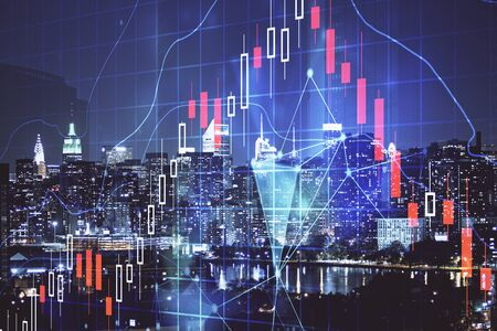 Double exposure of forex chart drawings over cityscape background. Concept of success.