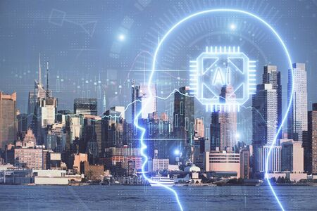 Brain hologram drawing on cityscape background multi exposure. Ai in modern city concept. Stock Photo - 129835060