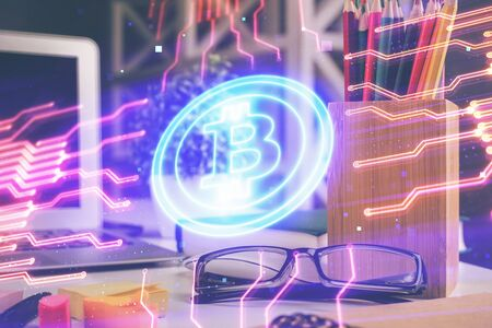 Crypto theme hologram with glasses on the table background. Concept of blockchain. Double exposure. Фото со стока
