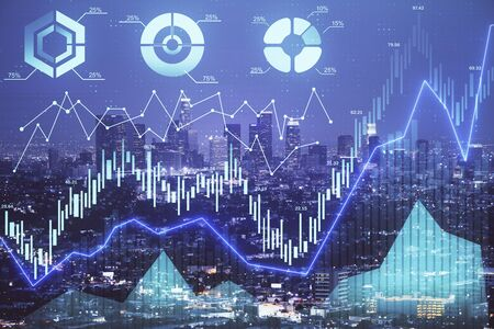 Financial graph on night city scape with tall buildings background double exposure. Analysis concept. Stock Photo - 129764598