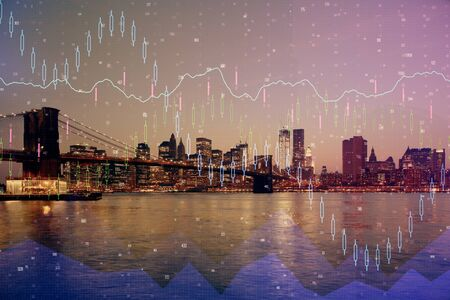 Financial graph on night city scape with tall buildings background multi exposure. Analysis concept. Stock Photo - 129764603