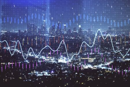 Financial graph on night city scape with tall buildings background multi exposure. Analysis concept. Stock Photo - 129828886