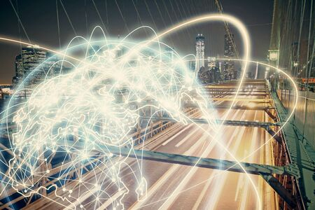 Double exposure of business theme hologram drawing and city veiw background. Concept of success. Stock Photo - 129828897