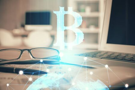 Crypto theme hologram with glasses on the table background. Concept of blockchain. Double exposure. Stockfoto