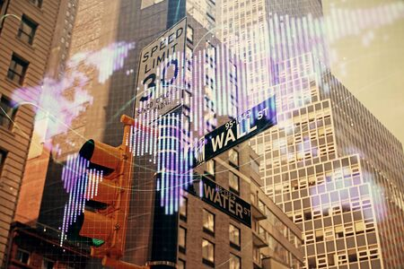 Double exposure of business theme hologram drawing and city veiw background. Concept of success. Фото со стока - 129830576