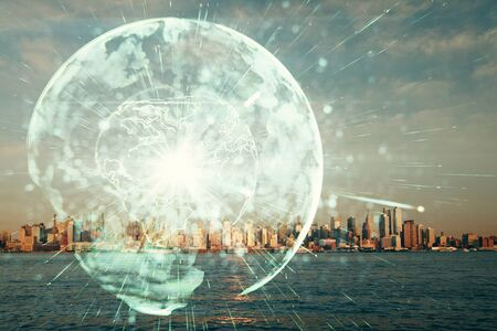 Double exposure of business theme hologram drawing and city veiw background. Concept of success. Stock fotó