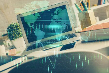 Double exposure of forex graph and work space with computer. Concept of international online trading. Stock fotó