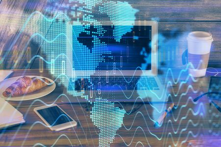 Multi exposure of forex graph and work space with computer. Concept of international online trading. 版權商用圖片