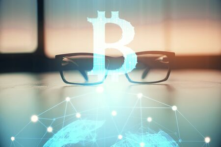 Crypto theme hologram with glasses on the table background. Concept of blockchain. Double exposure. Stok Fotoğraf