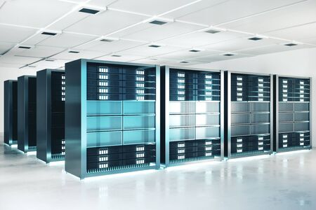 Modern server room background. Technology and hardware concept. 3D Rendering