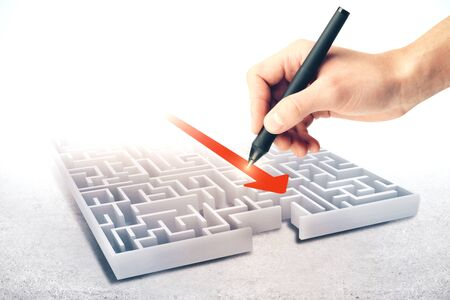 Hand drawing creative maze with arrow. Difficulty and success concept Stock Photo