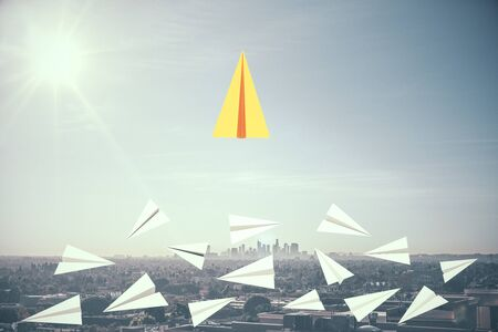 Leadership and different concept. Creative paper plane in sky with daylight. 3D Rendering Stok Fotoğraf