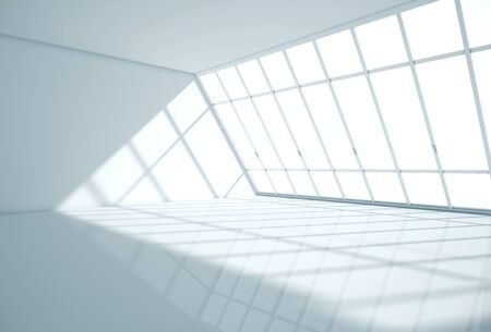 Interior de la habitación moderna con piso brillante, paredes de concreto y ventana panorámica. Representación 3D Foto de archivo