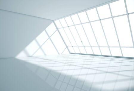 Interiore della stanza moderna con pavimento lucido, pareti in cemento e finestra panoramica. Rendering 3D Archivio Fotografico