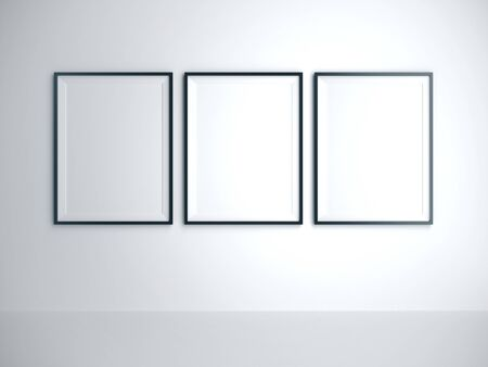 Empty three frame on white wall in room. Advertising, gallery concept. Mock up, 3D Rendering