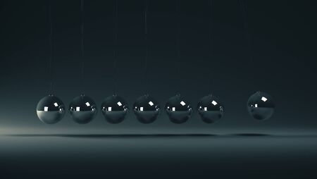 Newtons cradle, particularly of the spheres on gray background. 3D Rendering