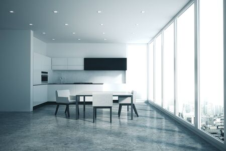 Modern kitchen interior with city view and daylight. Minimalistic style and design concept. 3D Rendering