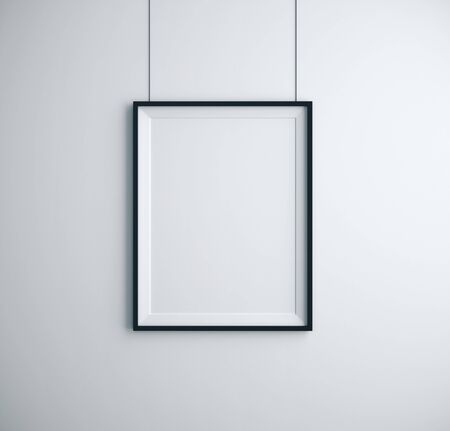 Empty frame on white wall in room. Advertising, gallery concept. Mock up, 3D Rendering Фото со стока