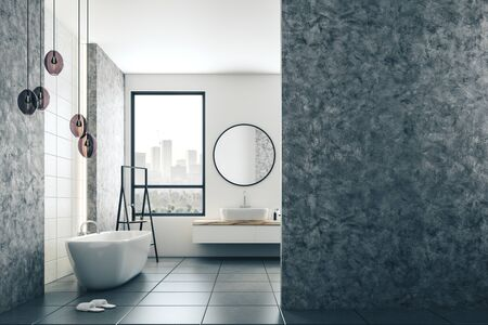 Loft bathroom interior with decorative objects. Style and design concept. 3D Rendering