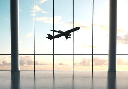 Big airport interior with windows and landscape view. Travel and lifestyle concept. 3D Rendering