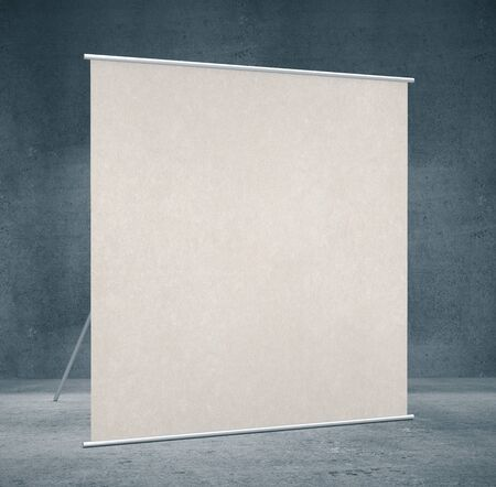 Empty white screen for projector in interior. Advertising, gallery concept. Mock up, 3D Rendering Фото со стока