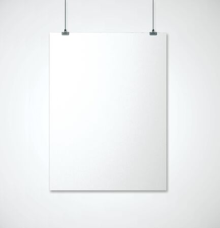 Empty banner in white interior. Advertising, gallery concept. Mock up, 3D Rendering Фото со стока
