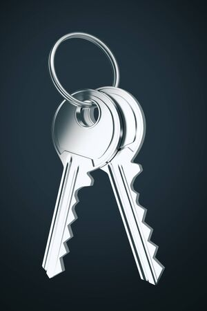 Two door keys isolated on black background. 3D Rendering