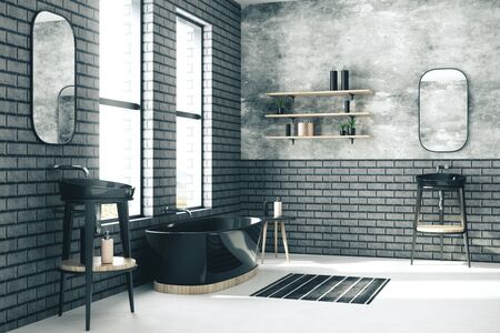Dark Modern bathroom interior. Mock up, 3D Rendering