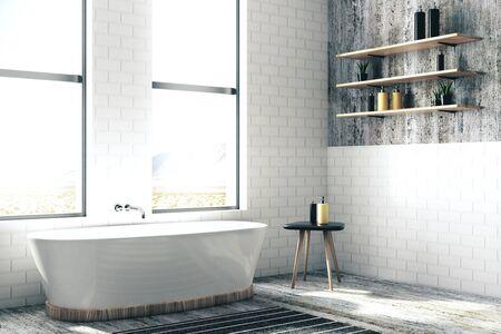 Contemporary bathroom interior. Mock up, 3D Rendering
