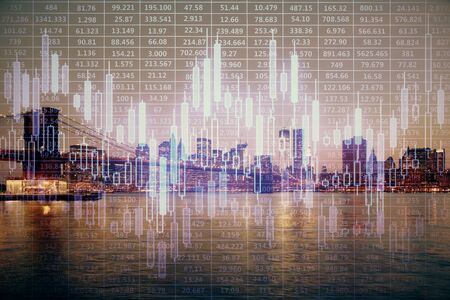Financial graph on night city scape with tall buildings background multi exposure. Analysis concept. 스톡 콘텐츠