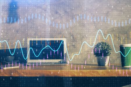 Double exposure of forex graph and work space with computer. Concept of international online trading. 版權商用圖片