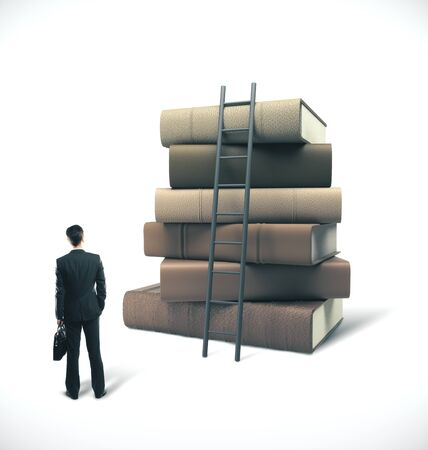 Businessman in suit with briefcase looking on stack of books with ladder. Business education concept
