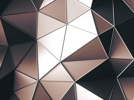 triángulos marrones brillantes abstractos con fondo oscuro. Representación 3d