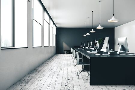 modern open space monochrome office with computers, light walls, concrete floor and white furniture. 3d rendering