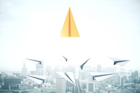 Leadership and executive concept. Creative paper plane in sky with daylight. 3D Rendering Stock fotó - 131538671