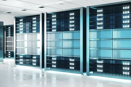 Clean server room background. Technology and hardware concept. 3D Rendering