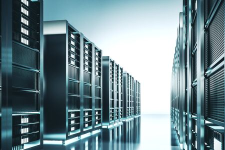Contemporary server room background. Technology and hardware concept. 3D Rendering