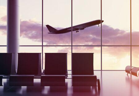 Avion volant dans le ciel. Intérieur de la zone d'attente avec sièges et fenêtres avec vue sur le paysage. Concept de voyage et de style de vie. Rendu 3D