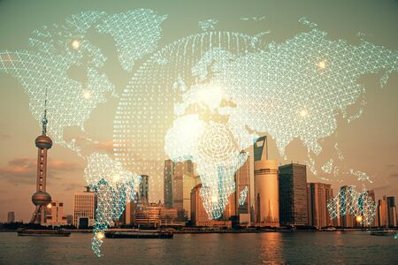 Double exposure of business theme hologram drawing and city veiw background. Concept of success. Фото со стока