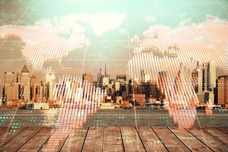 Double exposure of business theme hologram drawing and city veiw background. Concept of success. Stok Fotoğraf