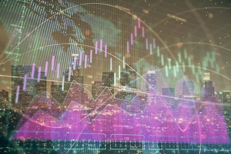 Multi exposure of forex chart drawings over cityscape background. Concept of success. Stok Fotoğraf - 131365226