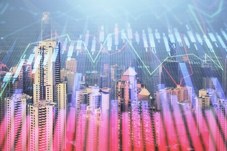 Forex graph on city view with skyscrapers background multi exposure. Financial analysis concept.