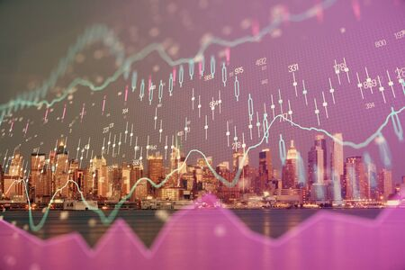 Financial graph on night city scape with tall buildings background double exposure. Analysis concept. Stok Fotoğraf