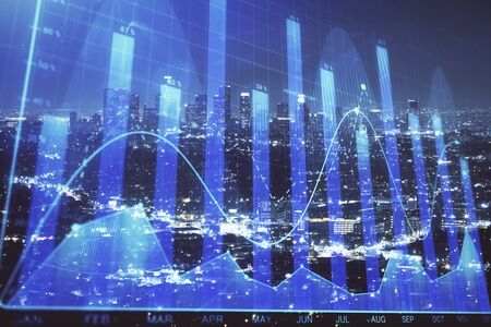 Financial graph on night city scape with tall buildings background multi exposure. Analysis concept. Фото со стока