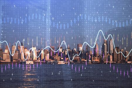 Forex chart on cityscape with skyscrapers wallpaper multi exposure. Financial research concept. Фото со стока