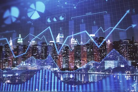 Double exposure of forex chart drawings over cityscape background. Concept of success. Stok Fotoğraf