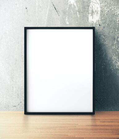 Blank paper on a concrete wall. Gallery, art, exhibit and museum concept. Mock up, 3D Rendering