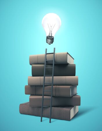 Stack of books with bulb and ladder.  Business idea concept. Mock up, 3D Rendering Stok Fotoğraf