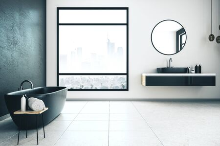 Modern bathroom interior with city view, bathtub and other objects. 3D Rendering